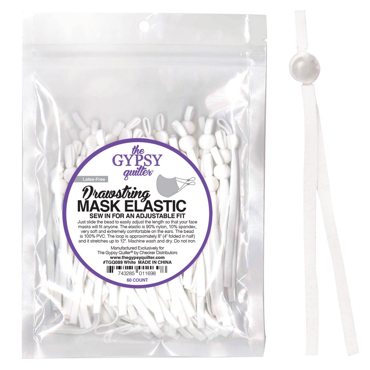 Drawstring Mask Elastic White Latex Free 60ct by the Gypsy Quilter