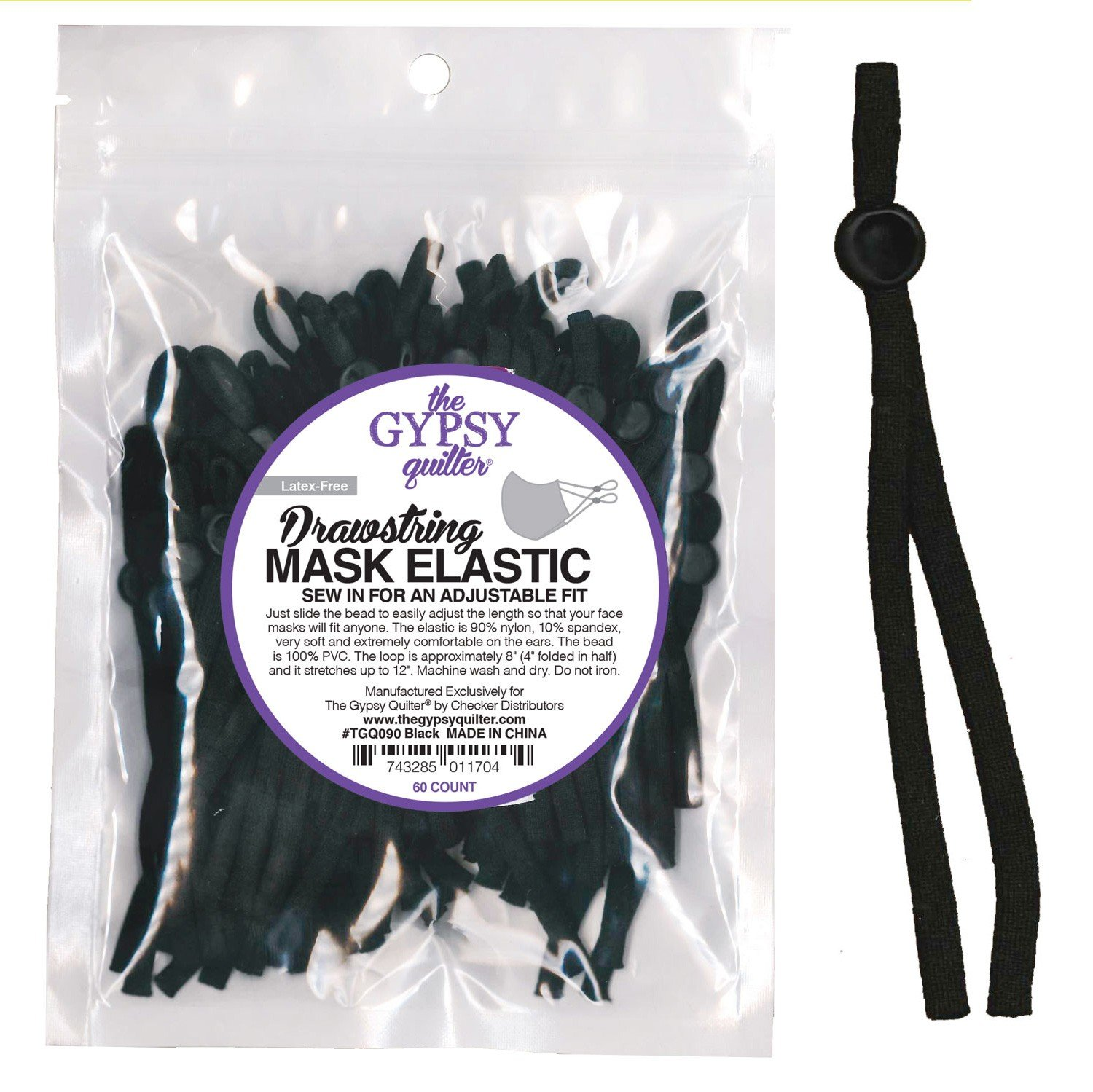 Drawstring Mask Elastic Latex Free 60ct by the Gypsy Quilter Black