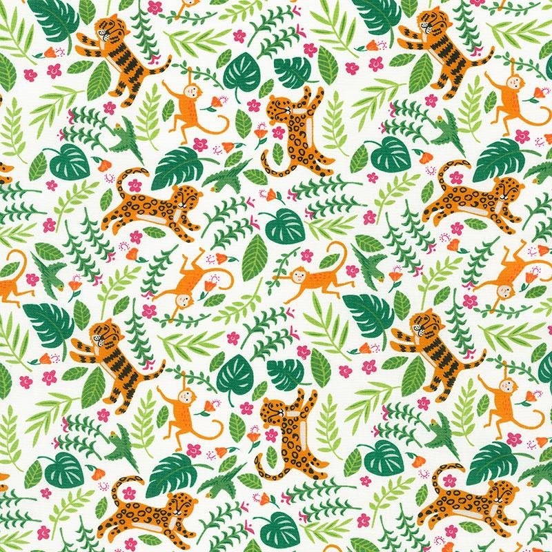 Jungle Paradise - Tigers on White by Stacey Iest Hsu for Moda