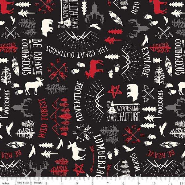 Wild At Heart - Main Print Black by Lori Whitlock for Riley Blake