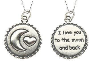 Cherished Moments Sterling Silver 14 Moon and Back Charm Necklace