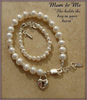 Mom and Me Key to my Heart Bracelet Set