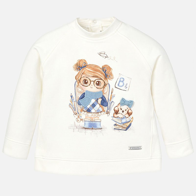 Mayoral White & Blue Girl L/S Sweater