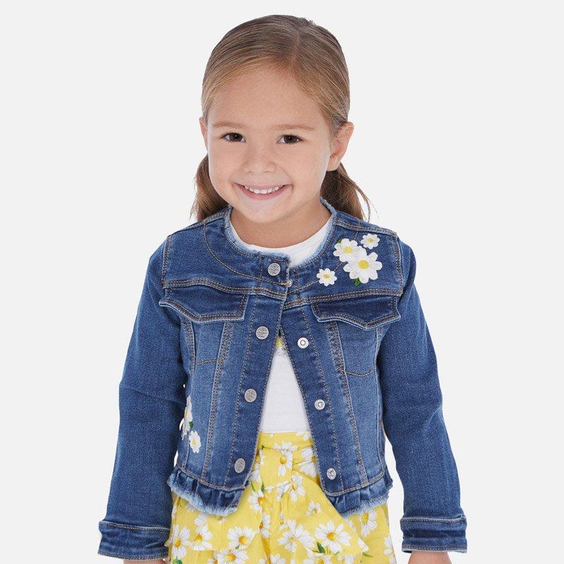 A Mayoral Embroidered Sunflower Denim Jacket