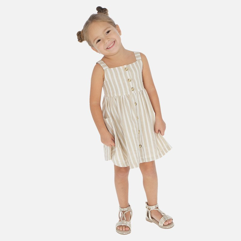 A Mayoral Sand Stripes Ivory Dress