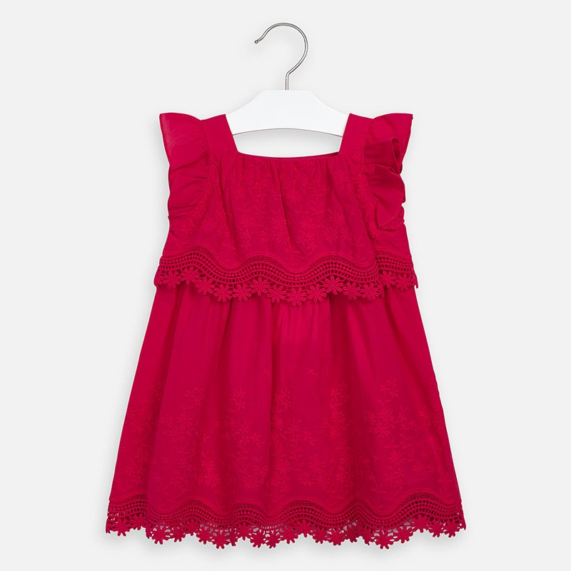 A Mayoral Strawberry Embroidered Poplin Dress