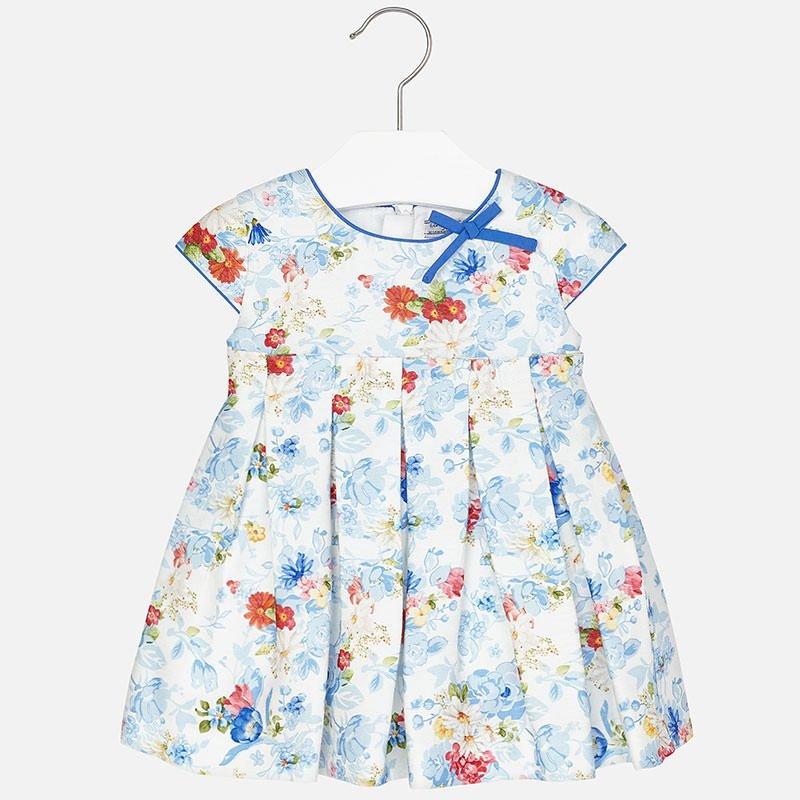 Mayoral Cobalt Satin Printed Dress