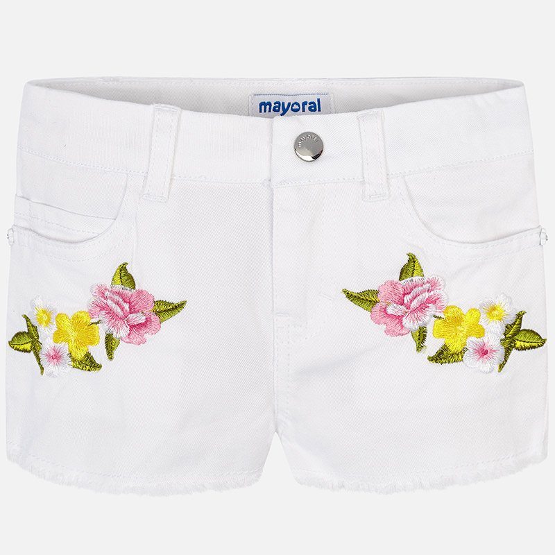 A Mayoral White Embroidered Shorts