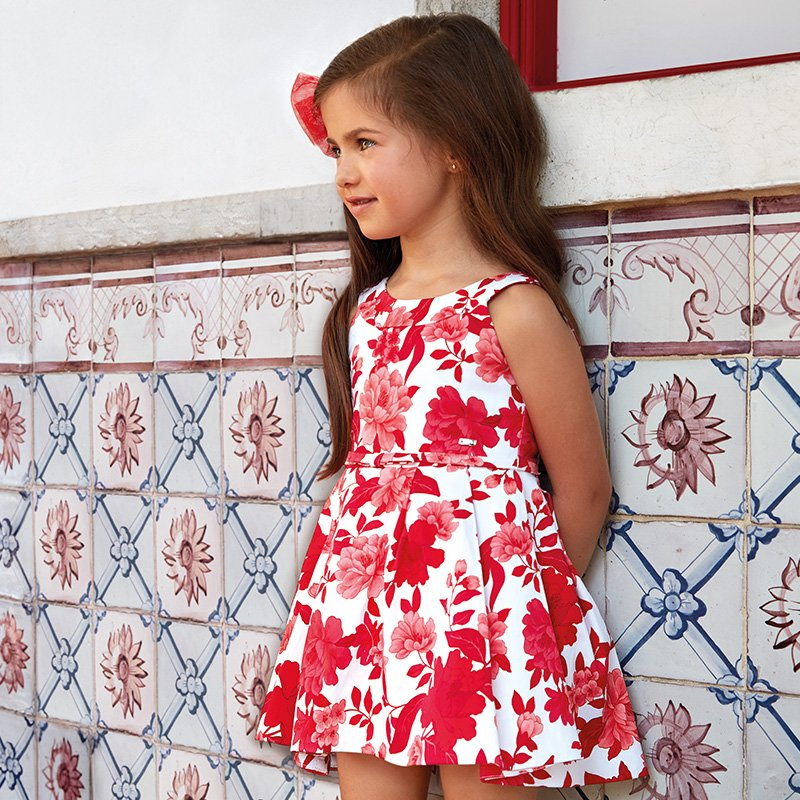 A Mayoral Red Flower Print Dress