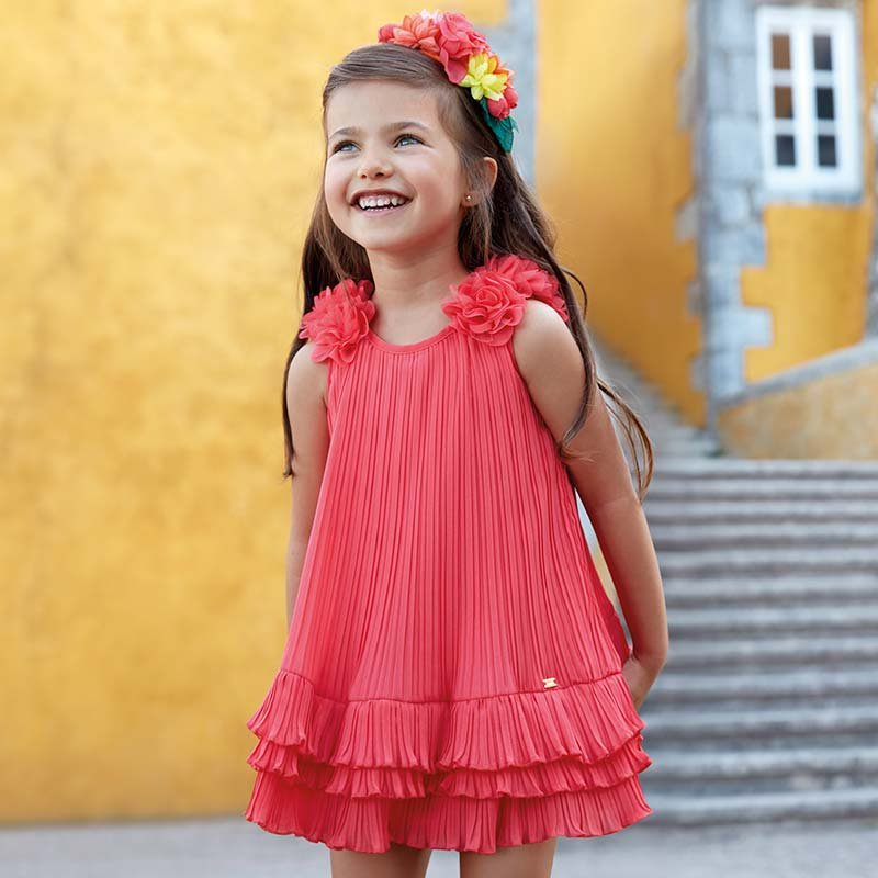 A Mayoral Coral Pleated Dress with Ruffles