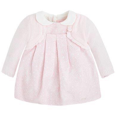 Mayoral Pink Lace Print dress w/ Cardigan