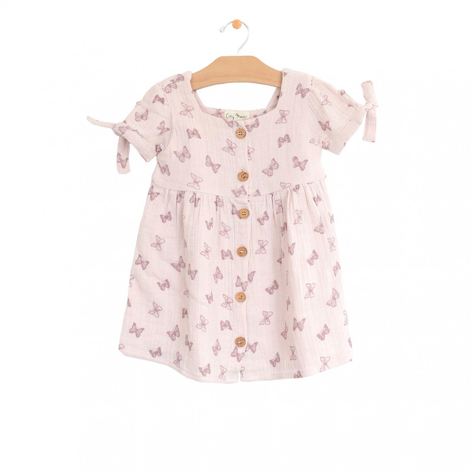 Butterflies Muslin Square Neck Button Dress