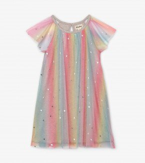 A Hatley Metallic Hearts Rainbow Tulle Dress