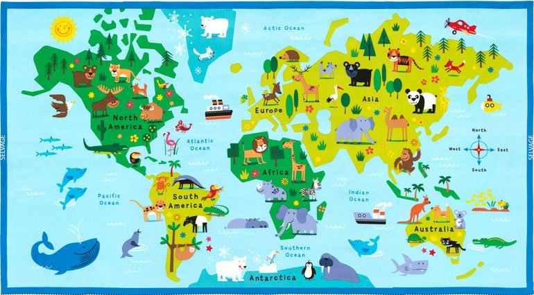 Animal World Map Panel Fun C6164 Blue World Map With Animals