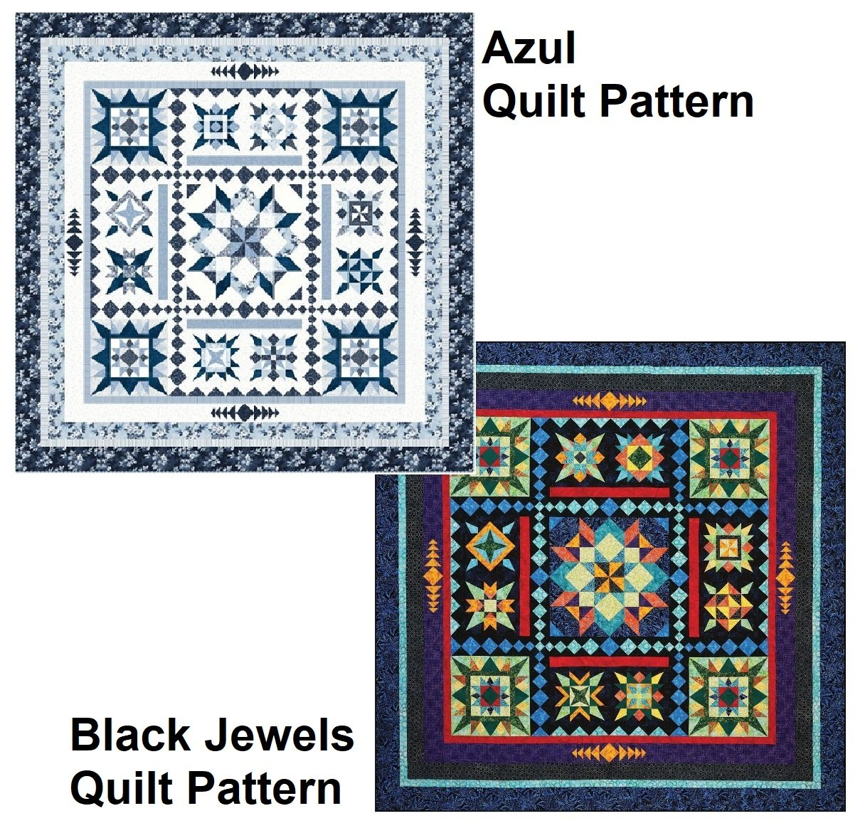 Azul and Black Jewels Quilt  Pattern