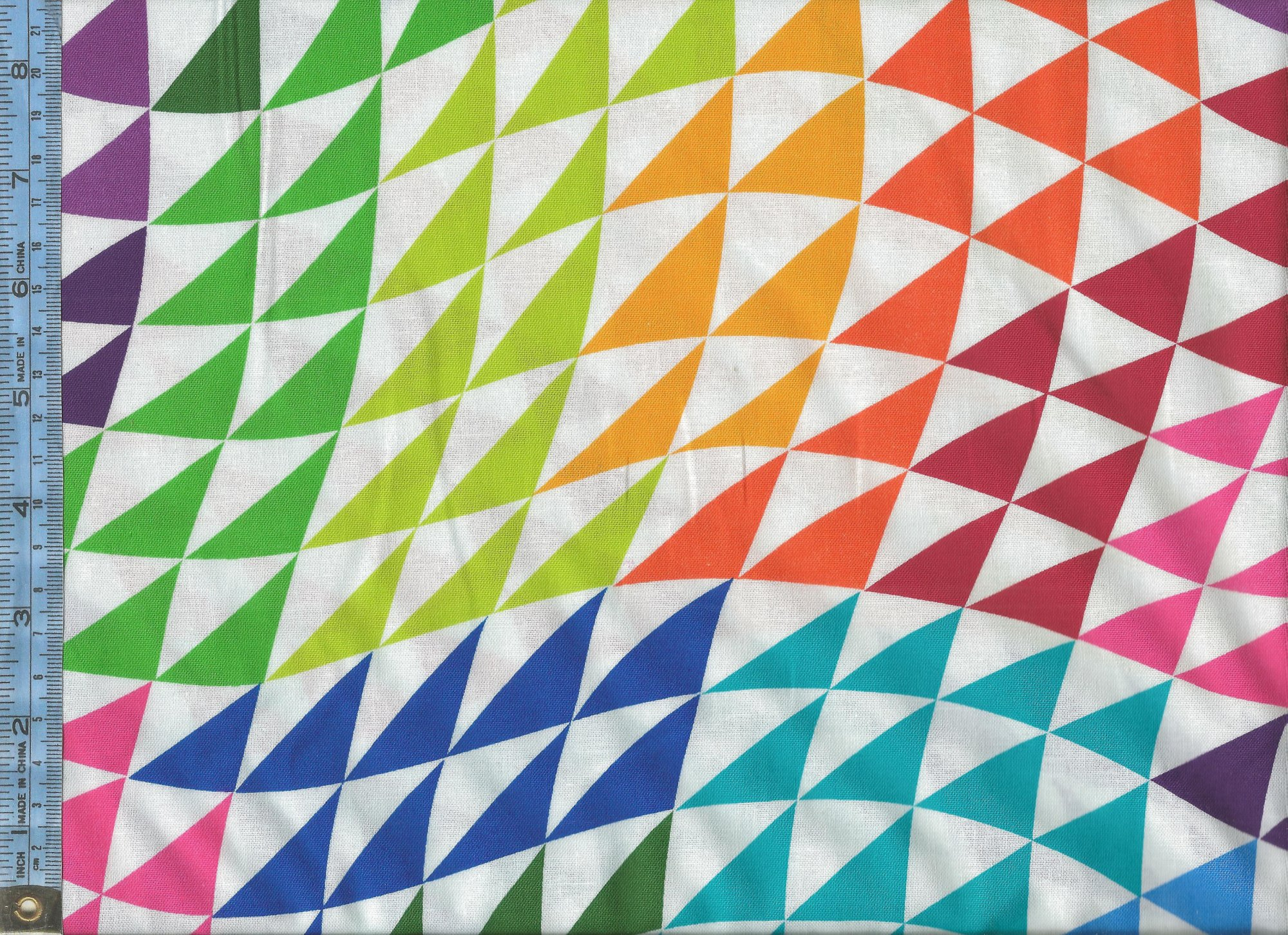 Colorworks Concepts - Phase I - (20810-10-white ph1) multi-colored triangles on white background