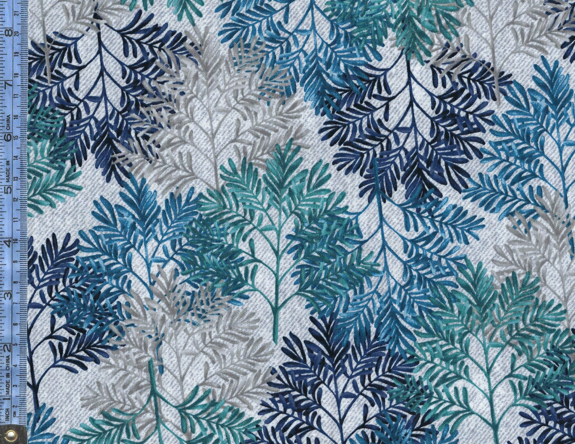 Denim Blues - (120-14141) blue navy blue teal and gray leaves on look-of blue-gray stonewashed denim background
