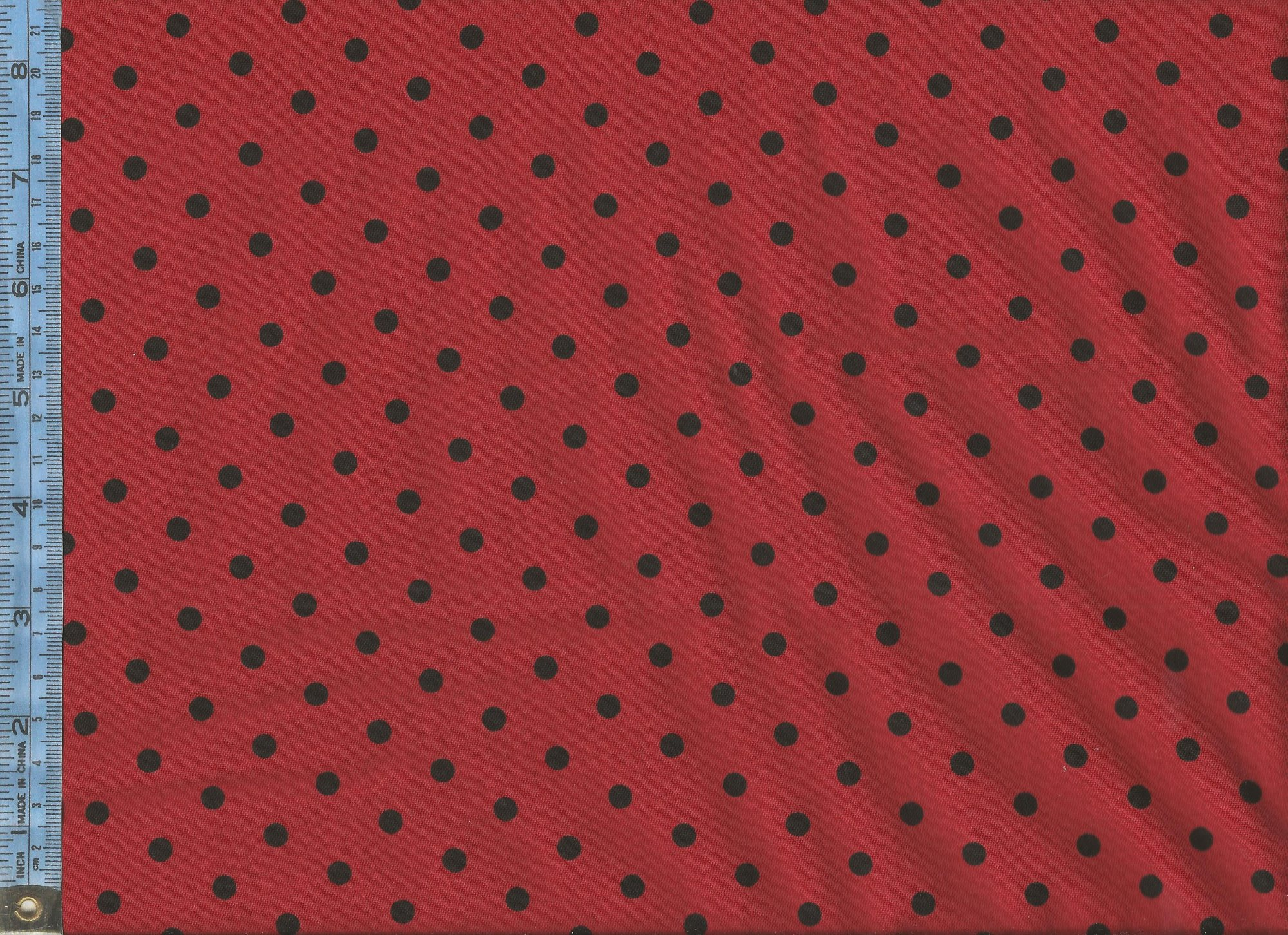 Dotsy - (8026-088-red) black dots on red background