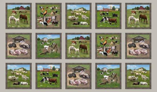 Farm Animals panel - (557SEPIA)