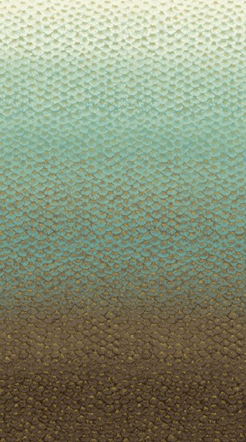 Flight of Fancy - (21663M-34-earth) gradated layered feathers from white to teal to brown with flecks of metallic gold panel
