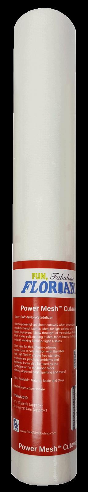 Floriani Power Mesh Cutaway Non-Fusible Natural (White)