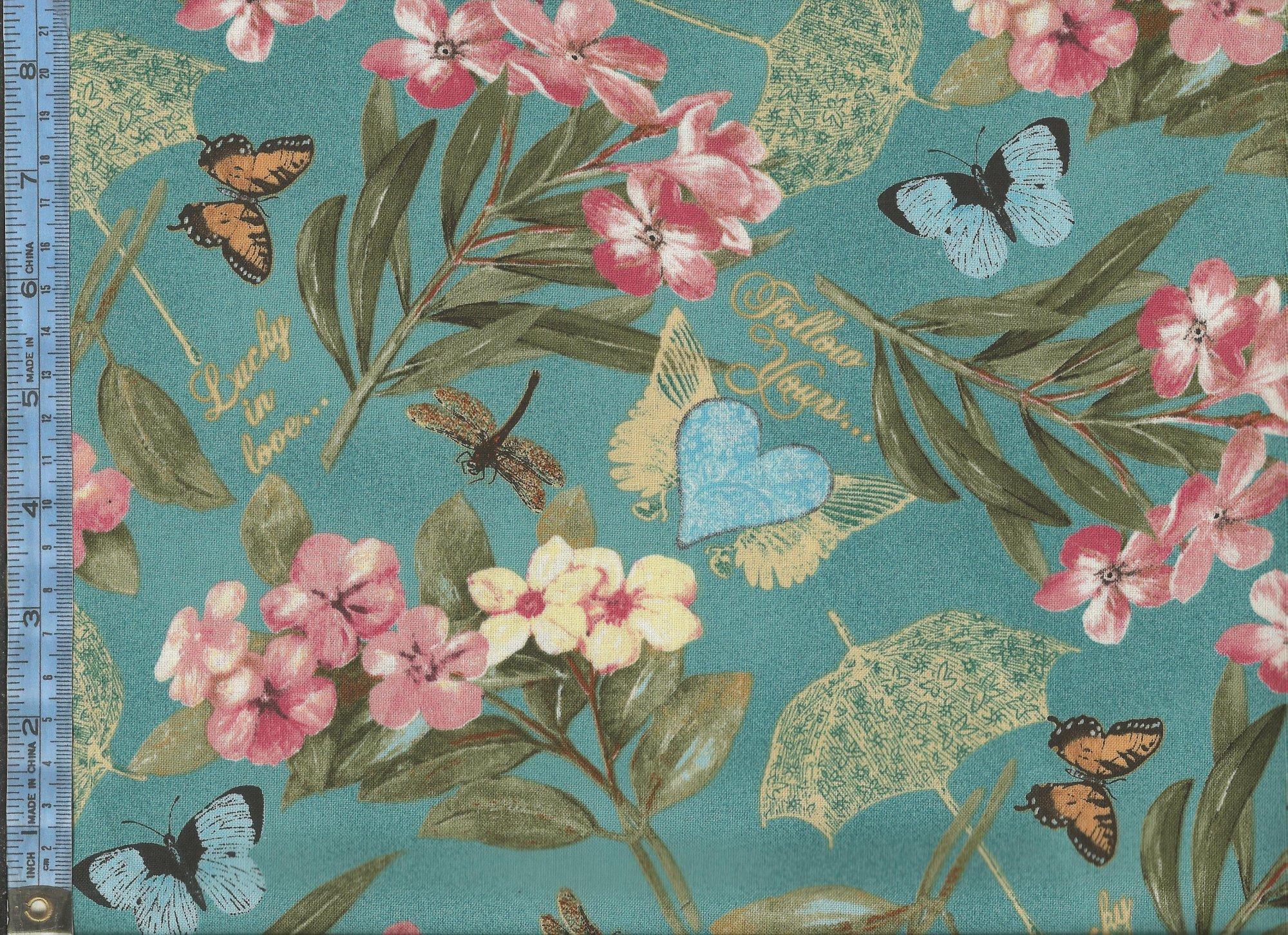 Garden Hideaway Pink Flowers With Light Blue Butterflies And Beige