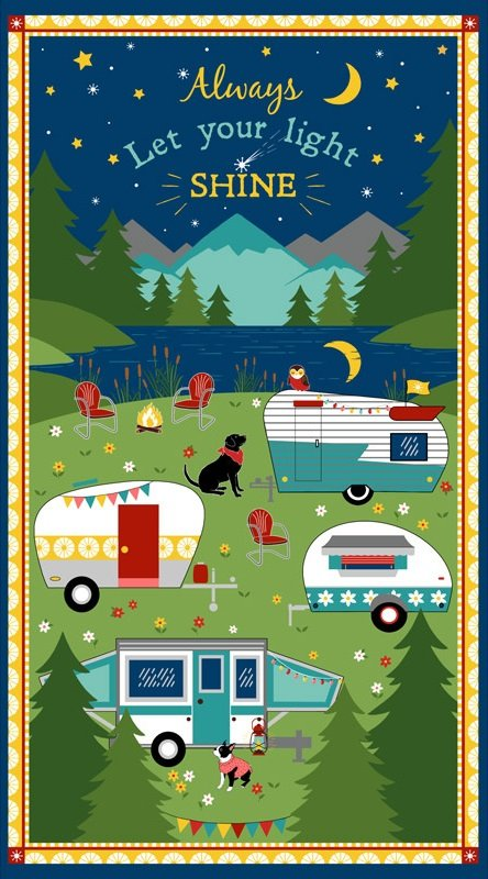 Gone Glamping! panel from Wilmington Prints
