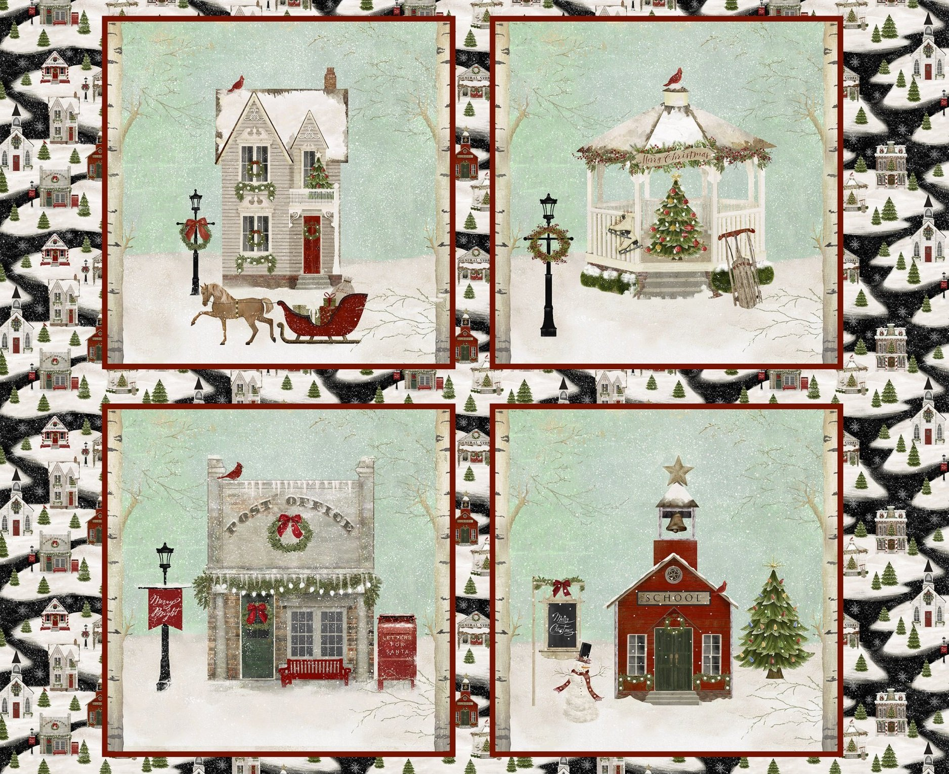Home for the Holidays panel from 3 Wishes Fabric