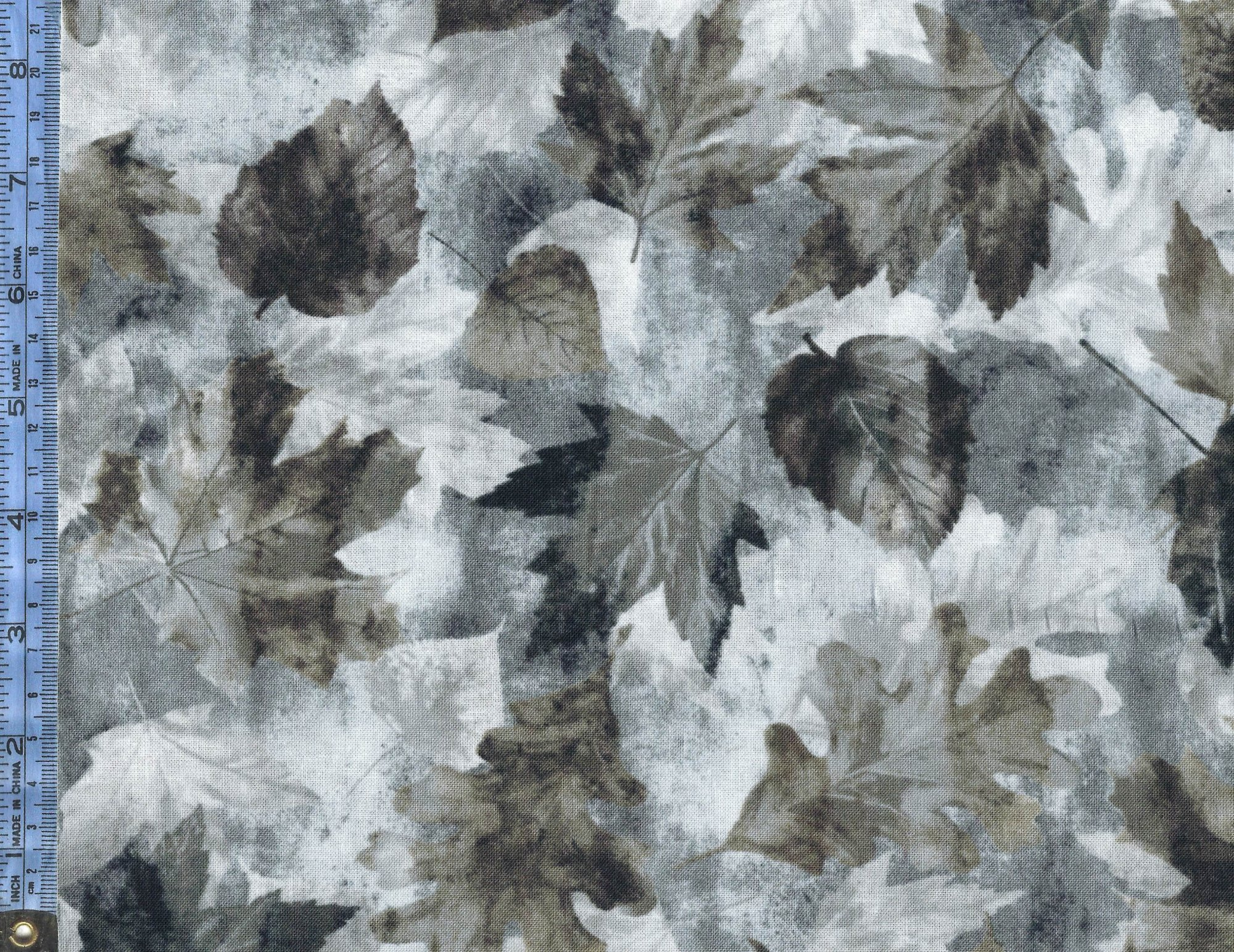 Into the Woods II - (8722-11) gray taupe and charcoal gray leaves on mottled gray background