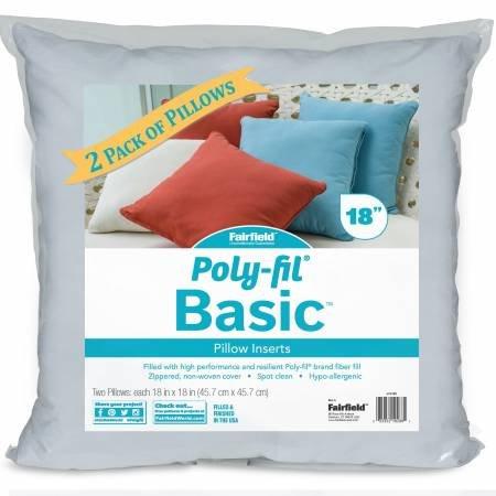 Pillow Basic Insert Poly Fill 18 inch x 18 inch 2/pk