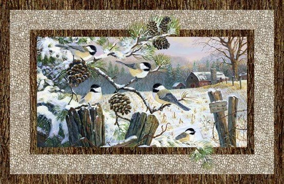 Naturescapes Winter Chickadees panel - (DP22244-12-beige)