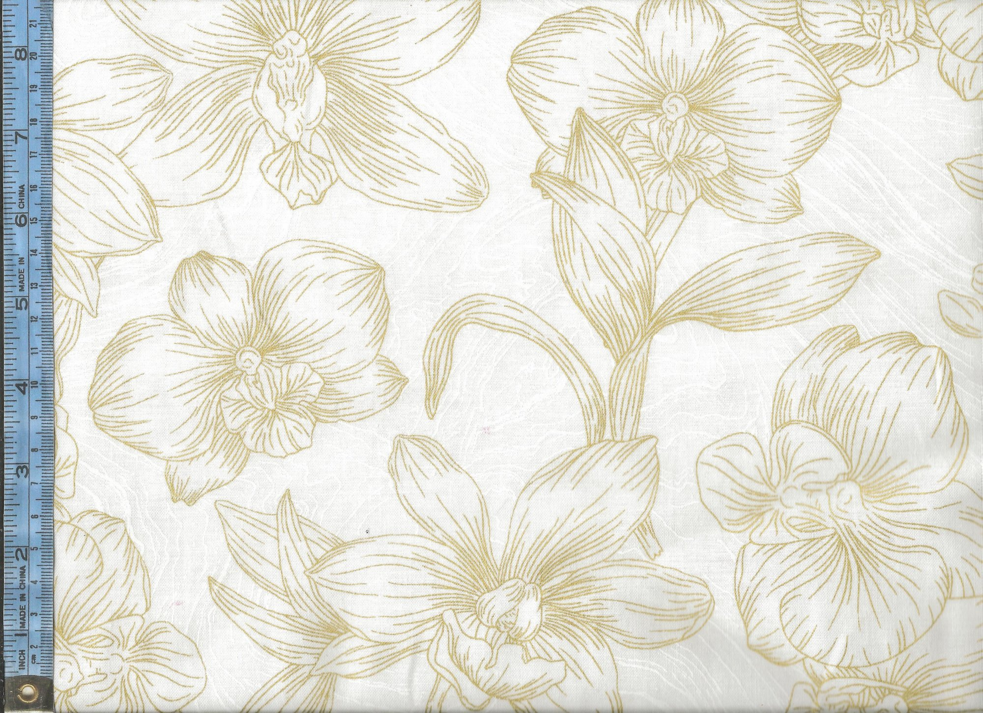 Artisan Spirit - Sandscapes Orchids - (21529M-10-white) metallic gold outlined orchids on white textured background