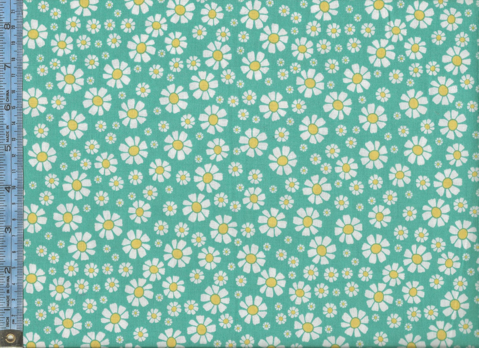 Shabby Strawberry - (C6043-teal) white and yellow daisies on teal background