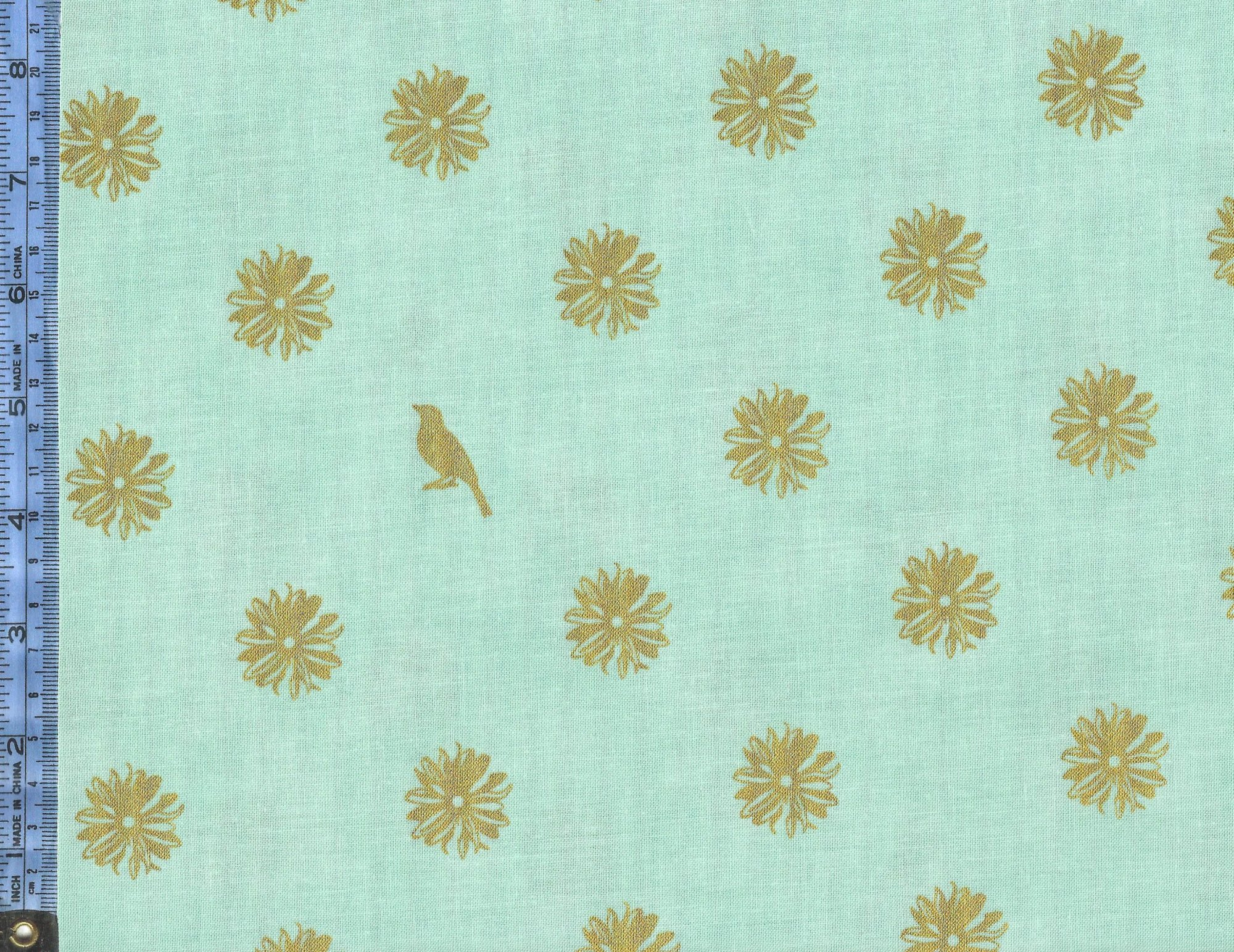 Shiny Objects - (3024-1) metallic gold flowers and birds on light blue-green background