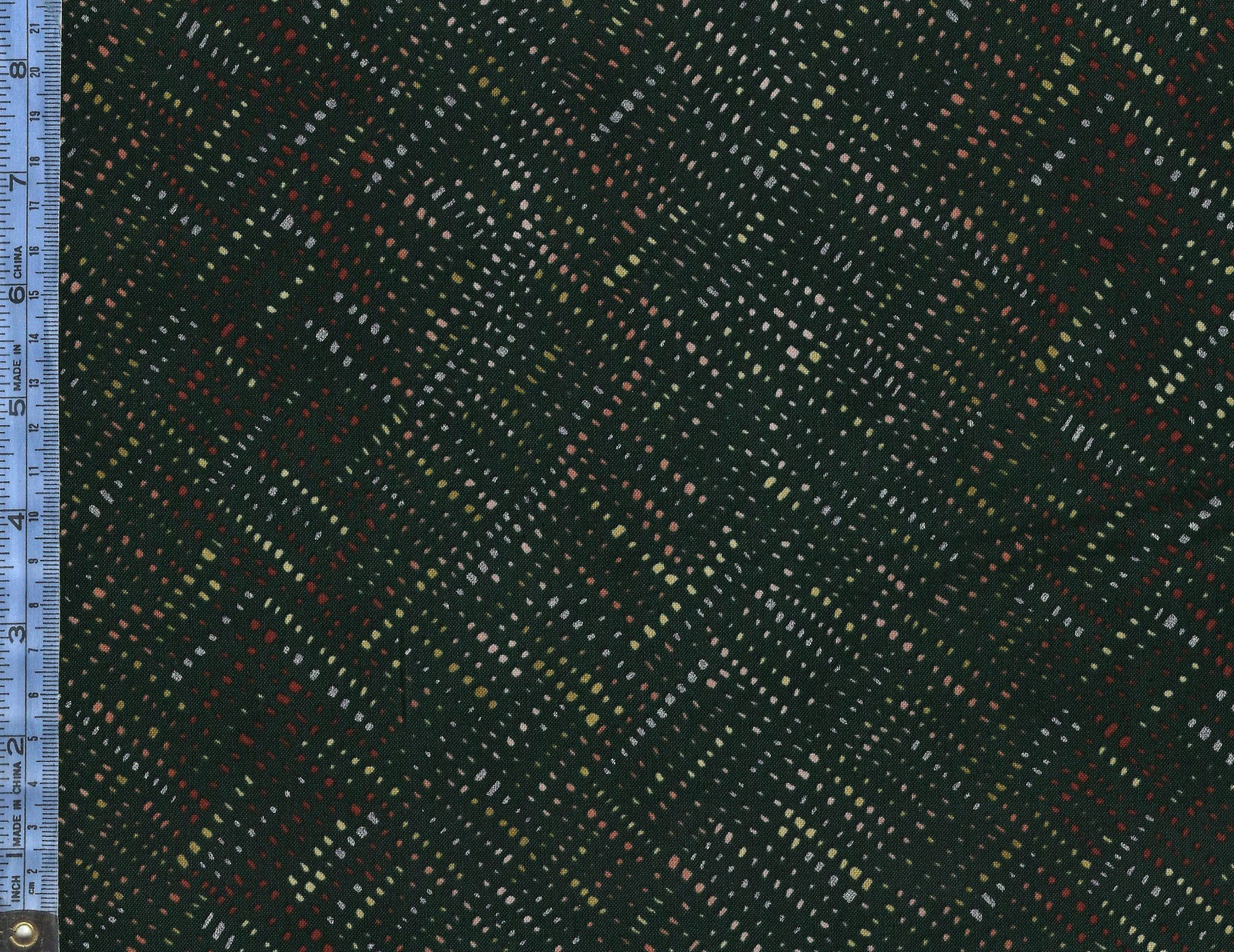 Shiny Objects - (3026-1) metallic silver, maroon, beige, green, and white compact spots on dark forest green background