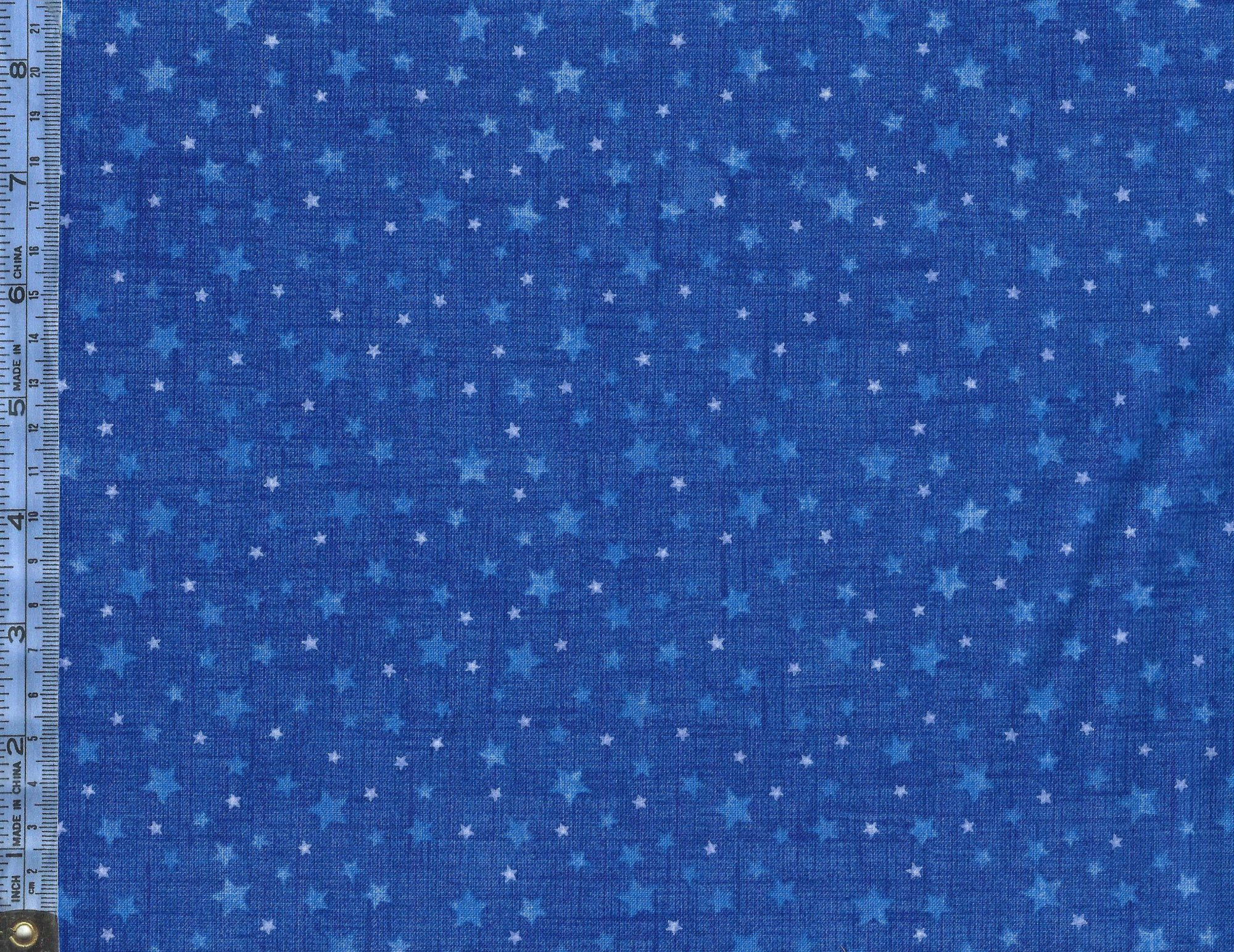 Silent Night - (21659-44-midblue) light blue and white stars on textured blue background