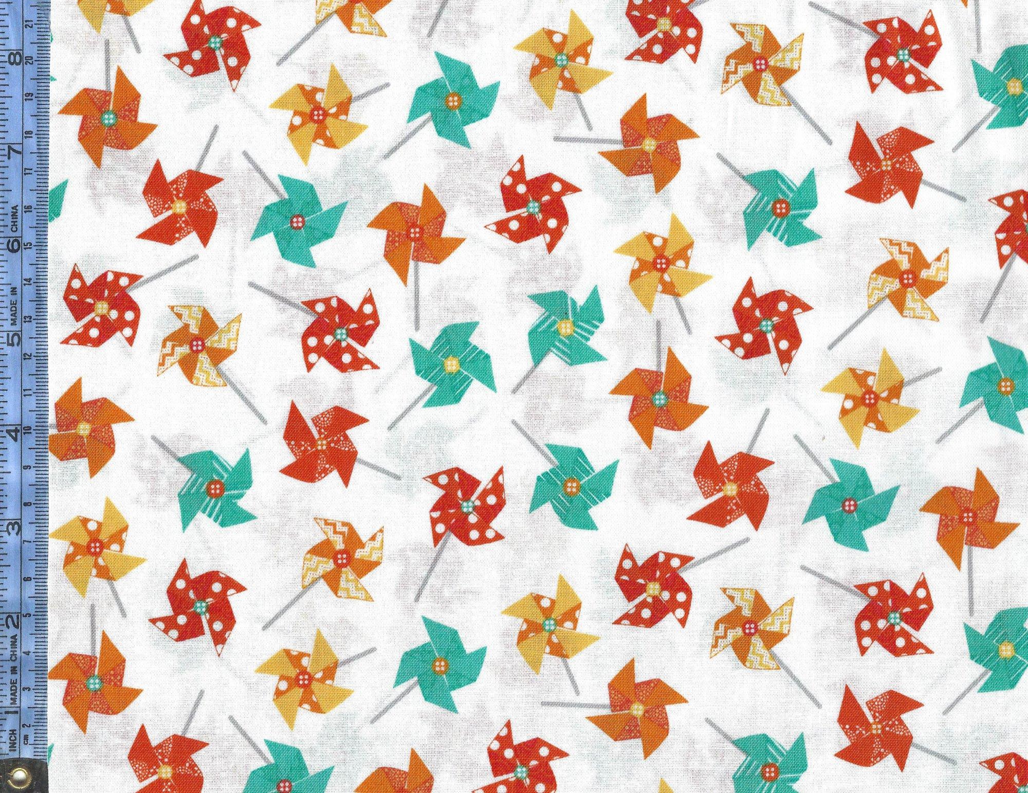 Sprinkle Sunshine - (MAS8252-O) orange yellow and teal pinwheels on white background