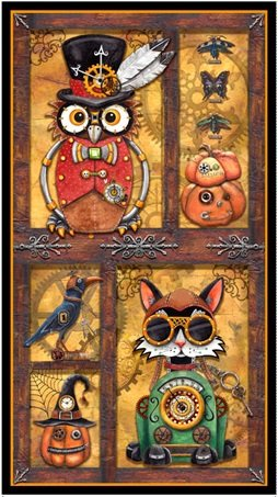 Steampunk Halloween panel from Quilting Treasures