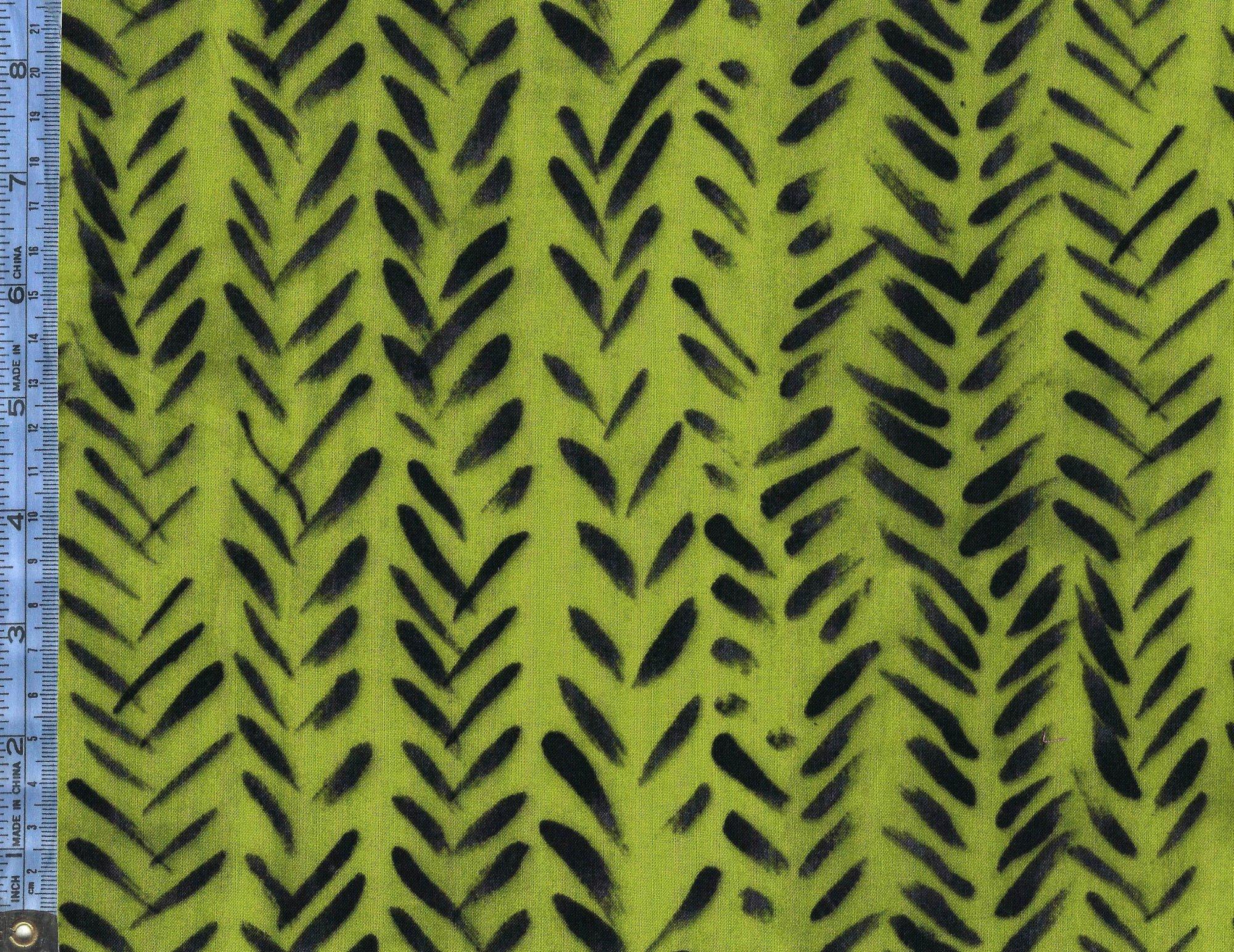 Treasure Hunt - (43190-18) black slash-marks on lime green background