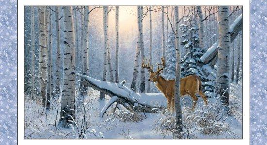 Winter Sunrise Deer Panel 7904-SNOW