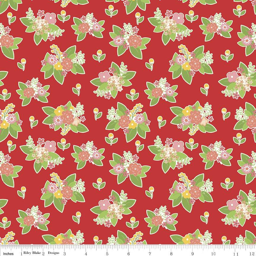 Vintage Adventure Floral Red C7274-RED