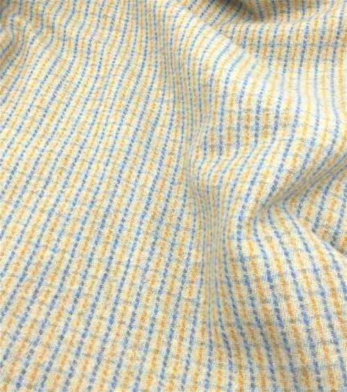 Cream Blue Yellow Striped Plaid