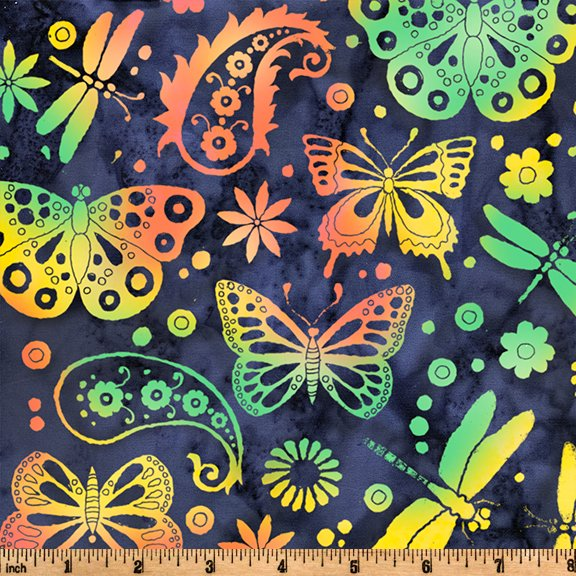 Sewing Sewcial 2021 Butterfly Paisley Navy SH111-585 - PRE-ORDER