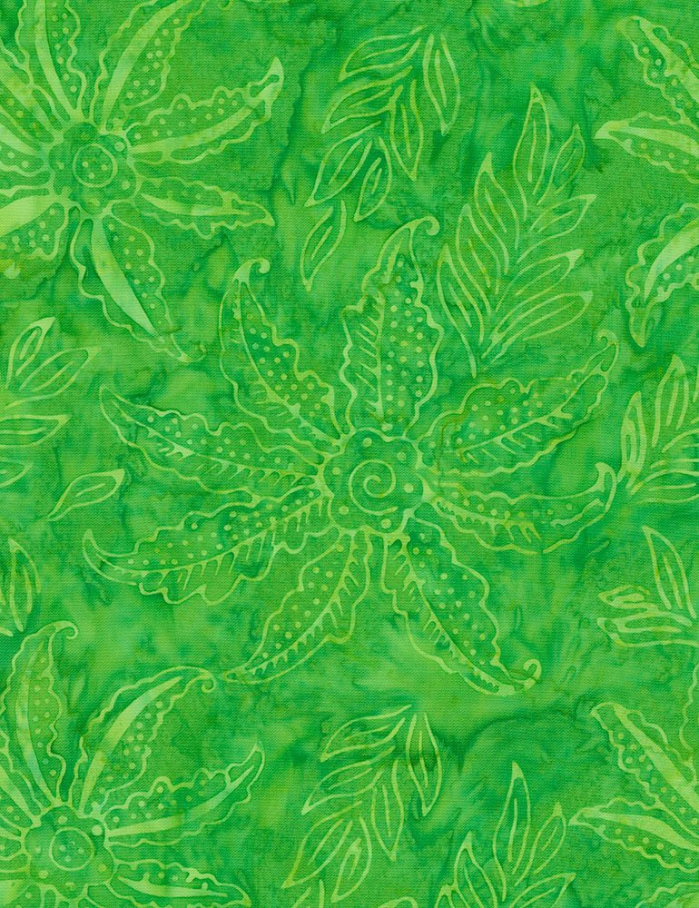 Dazzle Scalloped Flower Batik Lime Tonga-B7125-Lime