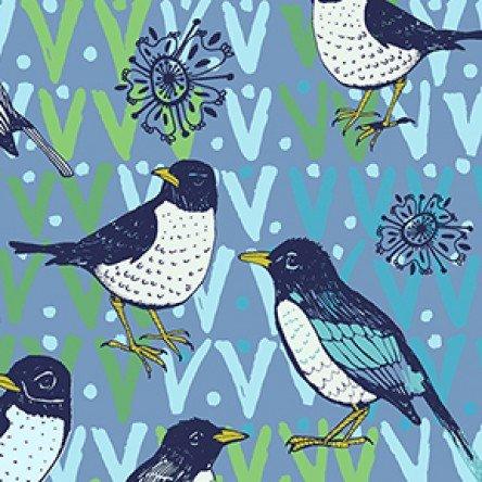 Spring Robins Denim Robin Focal Y2371-88