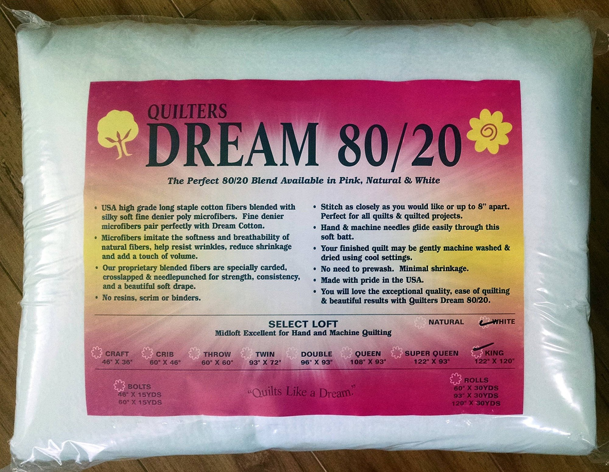 Quilters dream 80/20- White- king 122x120