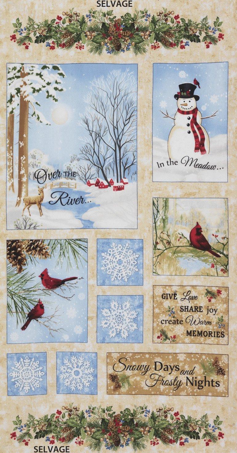 Beige Winter Memories Flannel 24in Panel