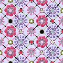 Lazy Little Ladybugs diagonal grid flowers fabric