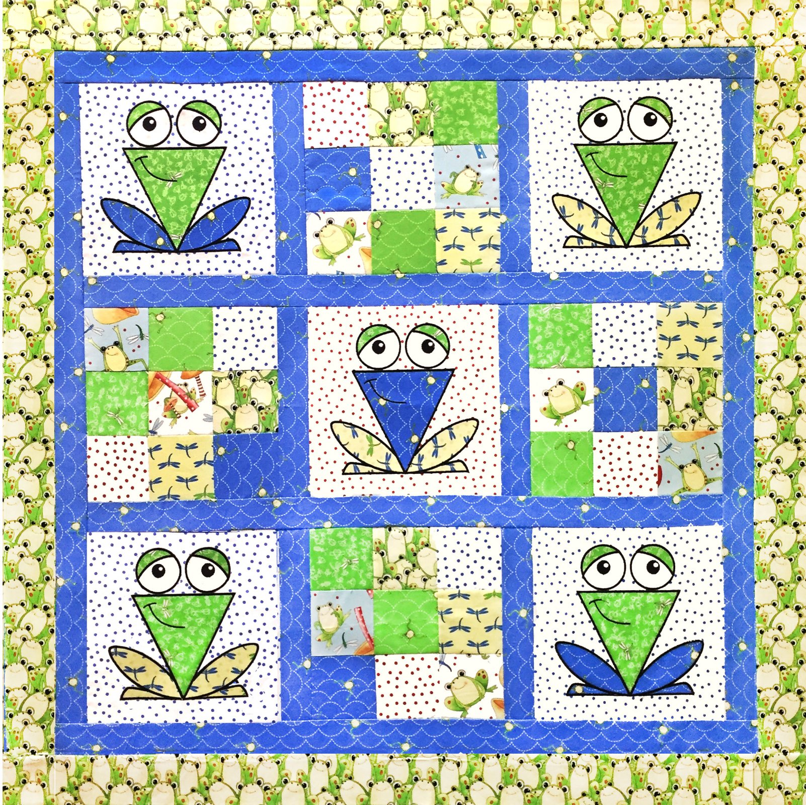 A Chorus of Frogs Quilt Pattern and Embroidery files Download only