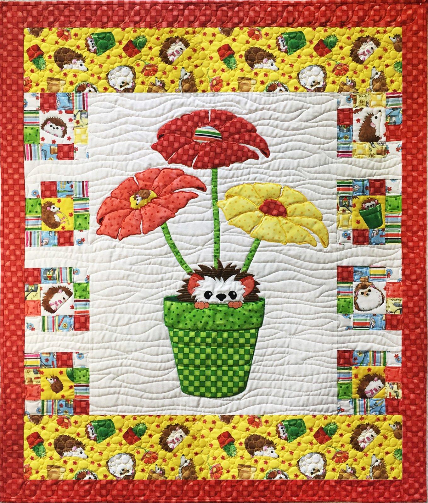 Blooming Hedgehog Applique Quilt Pattern (BQ-14) - 700381585430